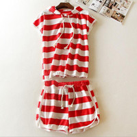 Striped hooded loose two piece