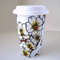 Ceramic Travel Mugs White Orchids Tropical Painted by sewZinski