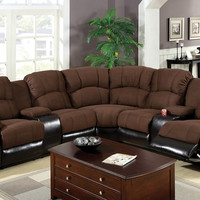 3 pc Keystone contemporary style 2 tone brown elephant skin microfiber and leather like vinyl Sectional sofa with recliners on the ends