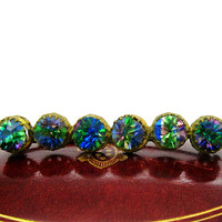 Bohemian Czech Crystal Brooch Victorian Heliotrope Rhinestone Bar Pin Vintage Rainbow Blue Green Iris Glass Gold Gilt Antique 1900s Jewelry