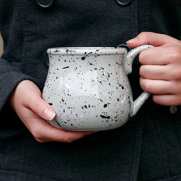Gray Mug with Black and White Splatters - Paint Flecks Speckles - Large Coffee Pot Mug Coffee Tea Spring Gift - Hand Painted - Made To Order