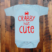 Crabby but Cute  baby clothing   one piece romper orange white purple blue pink you choose