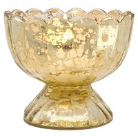 Vintage Mercury Glass Candle Holder (3-Inch, Suzanne Design, Sundae Cup Motif, Gold) - For Use with Tea Lights - Home Decor and Wedding Decorations