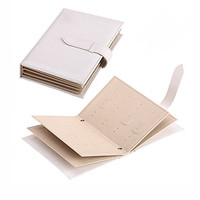 E'Plaza 42 Pairs Earrings Leather Book Jewelry Display Organizer Ear Studs Storage Book, Portable Book of Earrings Display PU Leather Cover Case Elegant (white)