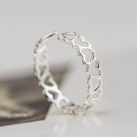 """""""Hollow Hearts"""" 925 Sterling Silver Adjustable Ring"""
