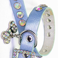 Blue Leather Bling Collar