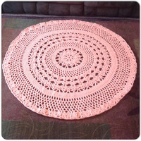 """Flower Rug Handmade Crochet OOAK Intricate Thick and Soft Doily 49"""" MORE COLORS Round Area Rug with 8 Points Mat Housewares Decor"""