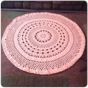 "Flower Rug Handmade Crochet OOAK Intricate Thick and Soft Doily 49"" MORE COLORS Round Area Rug with 8 Points Mat Housewares Decor"