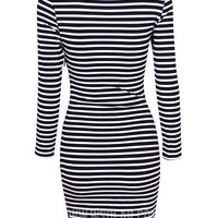 Striped Long Sleeve Asymmetric Wrap Bodycon Mini Dress