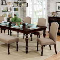 6 pc Hurdsfield collection transitional style antique cherry finish wood dining table set with bench