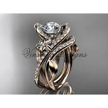 "14k rose gold diamond unique engagement set ""Forever One"" Moissanite ADLR369S"