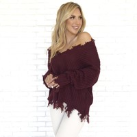 Jagged Edge Knit Sweater In Burgundy
