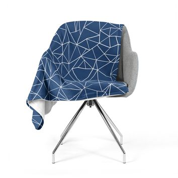 """Project M """"Abstraction Outline Navy"""" Blue Abstract Fleece Throw Blanket"""