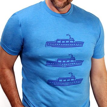 Provincetown Bright Blue Ferries Tee Shirt Sizes S & XL Available