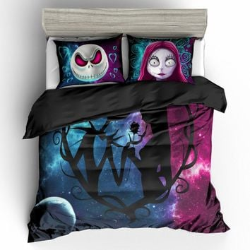 3D Nightmare Before Christmas Duvet Cover Sets,Jack and Sally Valentine's Day Rose Decor,100% Microfiber Galaxy Bedding Set 3pcs