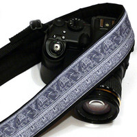 Lucky Elephants Camera Strap. Gray Camera Strap.  DSLR SLR Camera Strap. Nikon Canon Camera Strap. Women Accessories