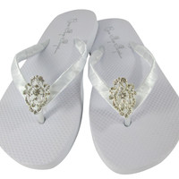 Vintage Lace Flat Wedding Flip Flops - Satin and Rhinestone Bridal and Bridesmaid Sandals
