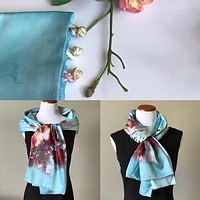 Blue 100% Silk Satin smooth soft Long double fabric  Scarf with buttons