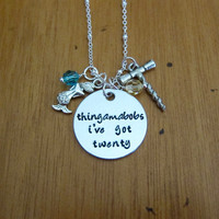 Mermaid Necklace. Thingamabobs I've Got Twenty. Wine lover necklace. With Love From OC original design. White wine fan. Hand stamped.