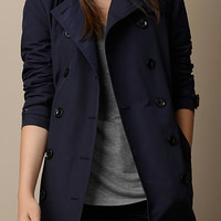 Leather Trim Technical Cotton Trench Coat