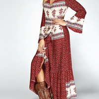 Red Floral Print Bell Sleeve Wrap Maxi Dress