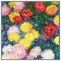 Chrysanthemum Detail #1 inspired by Claude Monet's impressionist painting Counted Cross Stitch Pattern