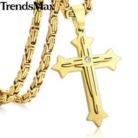 Trendsmax Women Mens Cross Pendant Necklace 2-Layer Rhinestone Stainless Steel Byzantine Chain Box Link Gold Color KP02 KP59