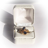 Gold Plated Blue Sapphire Floral Design Fashion Ring embellished with Rhinestones