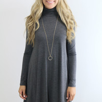 Dusk To Dawn Gray Turtleneck Long Sleeve Swing Dress