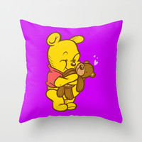 Pooh And Teddy Throw Pillow by Artistic Dyslexia
