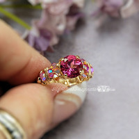 Pink Topaz Handmade Wire Wrapped Ring, Signature Design Marcella Ring, Fine Jewelry, Wire Wrap Jewelry