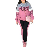 New Fashion Autumn Winter Women Tracksuit Casual Hoodies Set Pink Letters Two Piece Set Plus Size S-XXXL