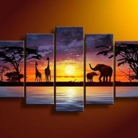 5 Pics African Grassland Elephant Sunset Giraffe Modern Art 100% Hand Painted Oil Painting on Canvas Wall Art Deco Home Decoration (Unstretch No Frame) Gp01:Amazon:Home & Kitchen