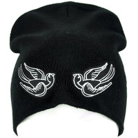 Kissing Black Birds Sparrow Dove Swallow Beanie Rockabilly Clothing Knit Cap
