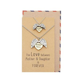 Helen Mother Daughter Locket Pendant Necklace, Set for 2 with Greeting Card