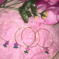 90's Babe Liquor Store Rose Handpainted Faux Gold Hoops Lisa Frank
