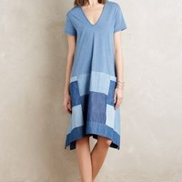 Holding Horses Patched Chambray Swing Dress in Blue Size: