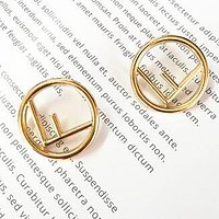 FENDI Trending Women Stylish F Letter Pendant Earrings Accessories Jewelry Golden