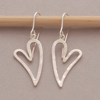 Heart earrings, silver earrings, hook earrings, love jewelry, gift under 50 usd, handmade sterling silver jewelry, S1324