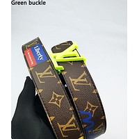 LV hot selling men's and women's color print belt fashion casual belt Green buckle