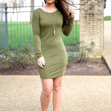 Piko fitted dress - olive
