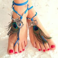Barefoot sandals. beach sandal, beaded sandals, , peacock boho barefoot sandles, crochet barefoot sandals, , yoga, anklet  hippie shoes