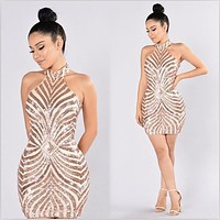 Sexy Club Sequined Dress 2017 Fashion Halter Backless Gold Geometric Pattern Women Slim Bodycon Party Dresses