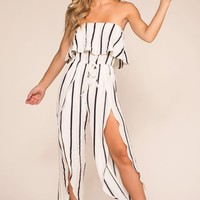 Sophia Stripe High Waisted Culotte Jumper
