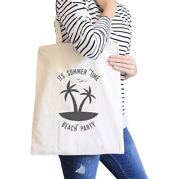 It's Summer Time Beach Party Natural Canvas Bags