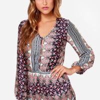 Personal Space-ly Navy Blue Paisley Print Romper