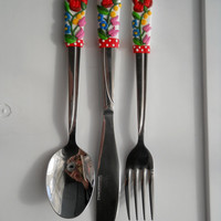 Traditional Kalocsa pattern cutlery set (spoon, fork, knife) Housewares utensils
