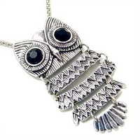"""Unique ZAD Large Antique Silver Tone Owl with Black Eyes on Long 30"""" Chain"""