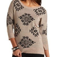 Aztec Tunic Sweater by Charlotte Russe - Black Combo