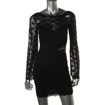 Free People Womens Above Knee, Mini Lace Cocktail Dress